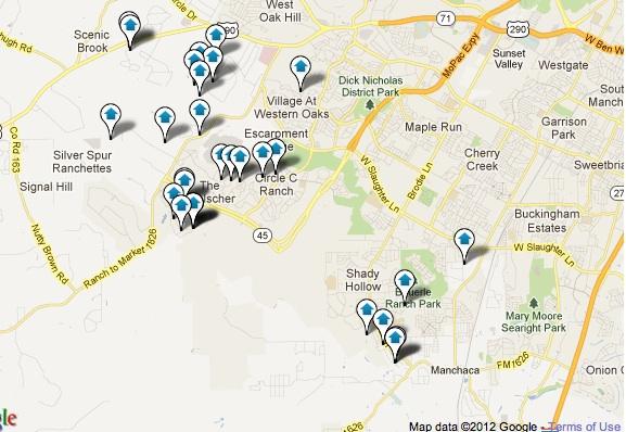 Southwest Austin Luxury Homes Map