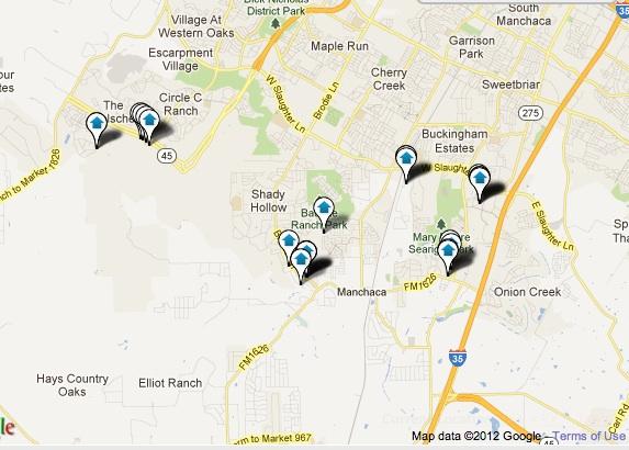 Southwest Austin New Homes Map