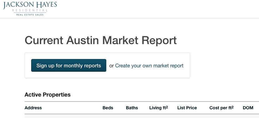 Jackson Hayes Austin Neighborhood Home Report