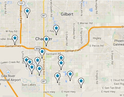 Click the Map to View all Chandler Listings
