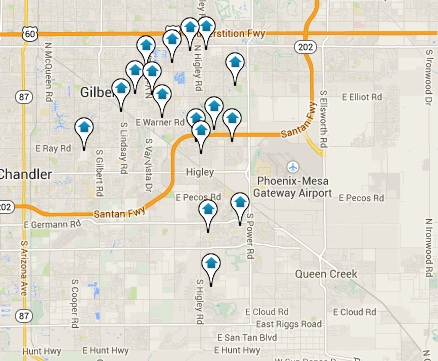 Click the Map to View all Gilbert Listings