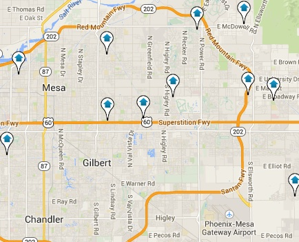 Click the Map to View all Mesa Listings