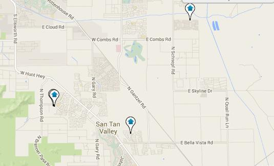 Click the Map to View all San Tan Valley Listings