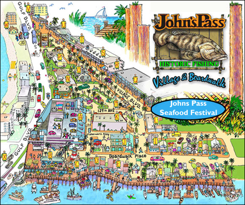 Johns pass seafood festival for Fishing treasure island florida