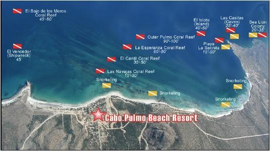 Cabo Dive Map