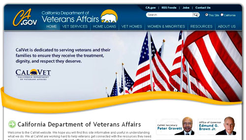 California Veterans Administration Website