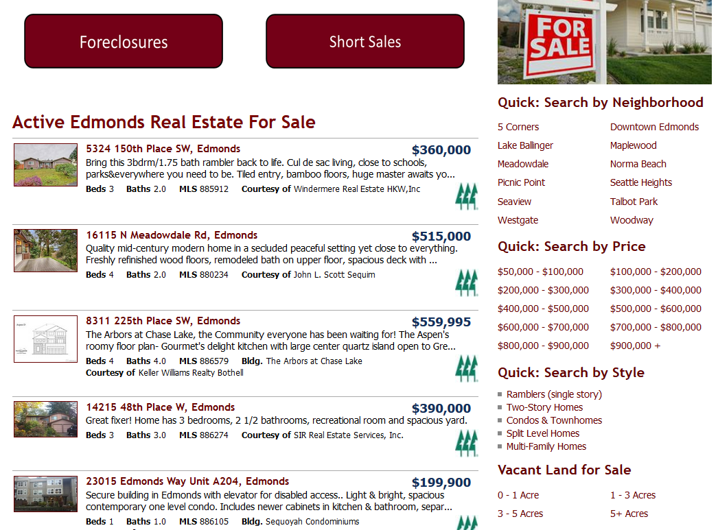Edmonds Quick Home Search