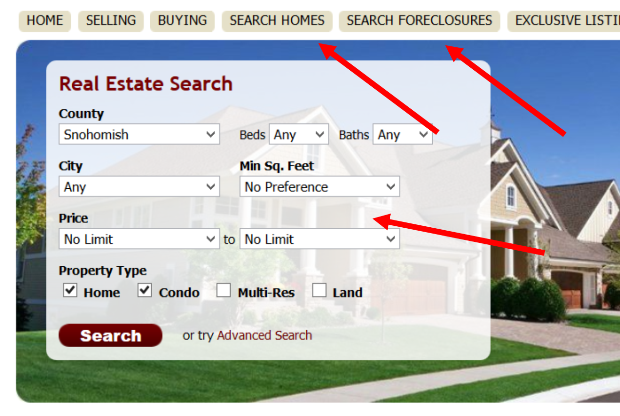 Setting Up a Property Search