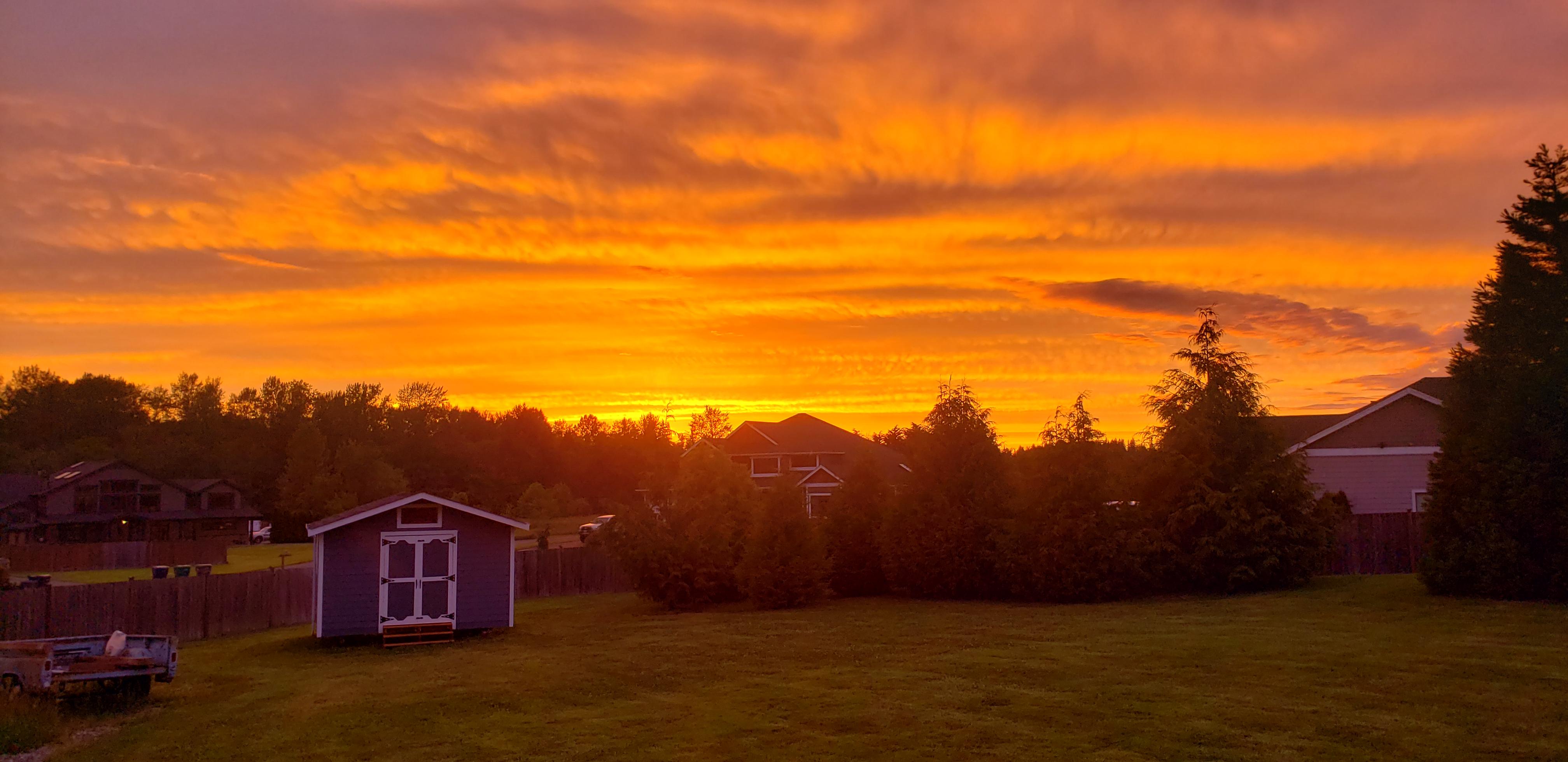 Glowing sunset from Lakewood near Arlington Wa