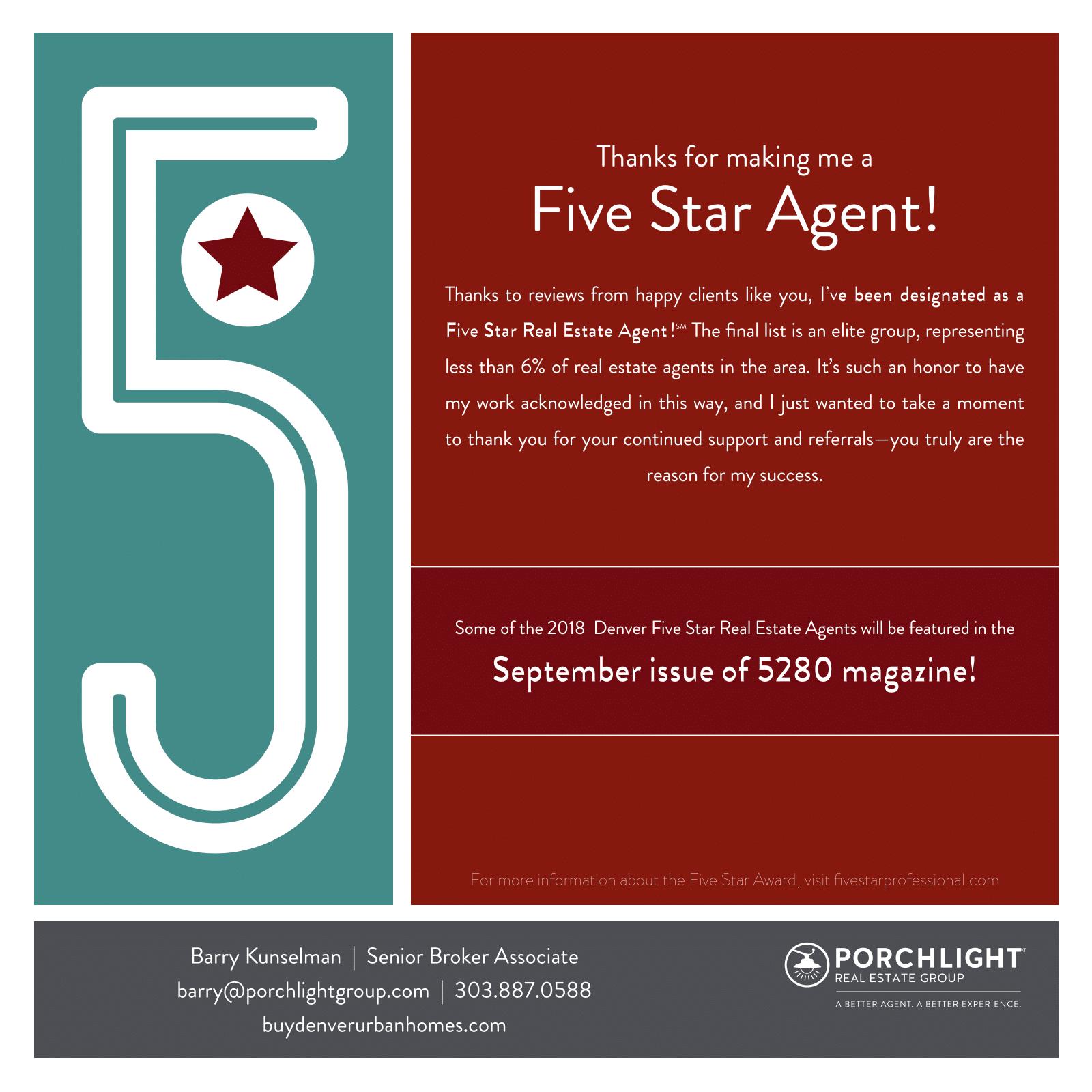 Barry Kunselman 2018 Denver 5 Star Real Estate Agent