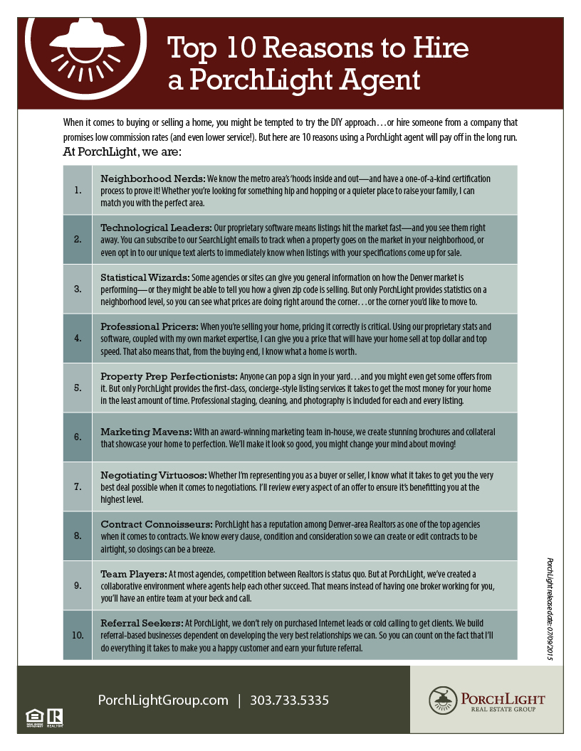 Top 10 Reasons to Hire a PorchLight Agent