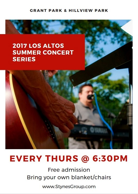 Every Thursday through August 3rd, the 2017 Los Altos Summer Concert Series brings a different local band to a Silicon Valley park for free musical entertainment.
