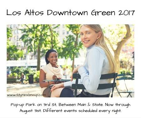 There's something new almost every night through August 31st at the Los Altos Downtown Green 2017 pop-up park.