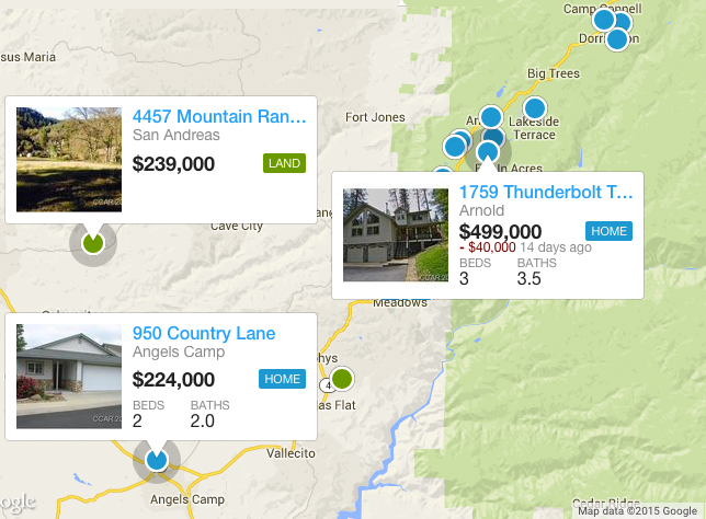 Search Calaveras County Real Estate By Map