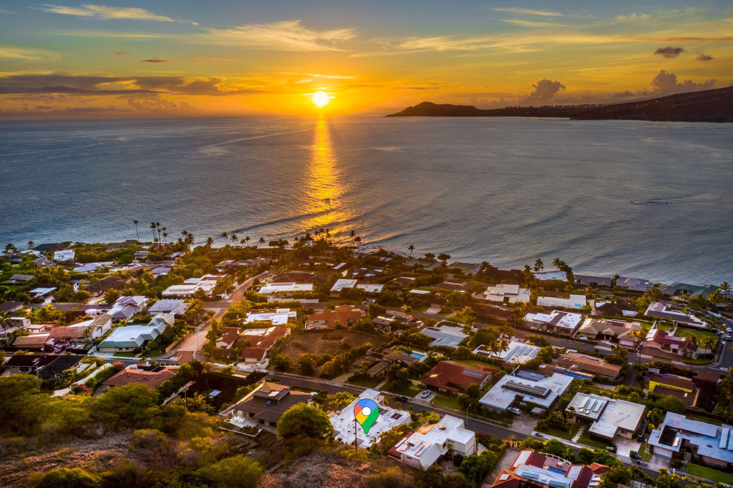 Sunset Aerial View at 113 Lumahai Street