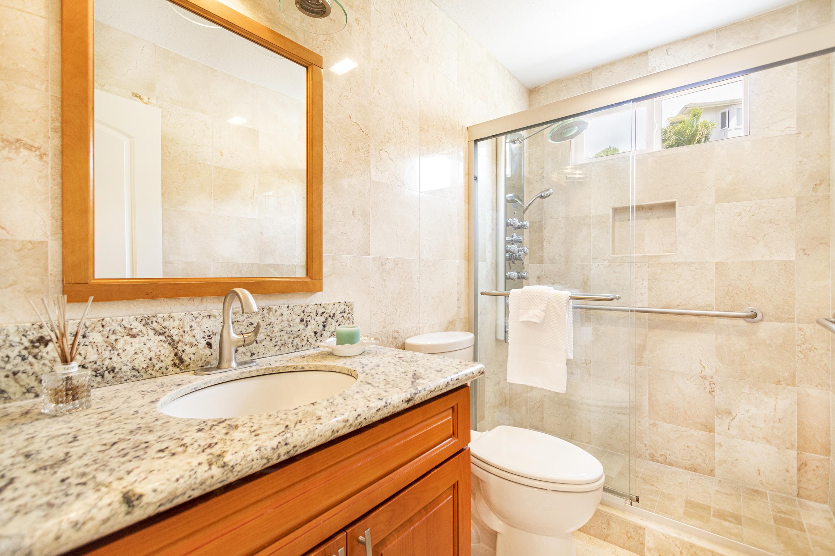 Bathroom at 122 Kokololio Place