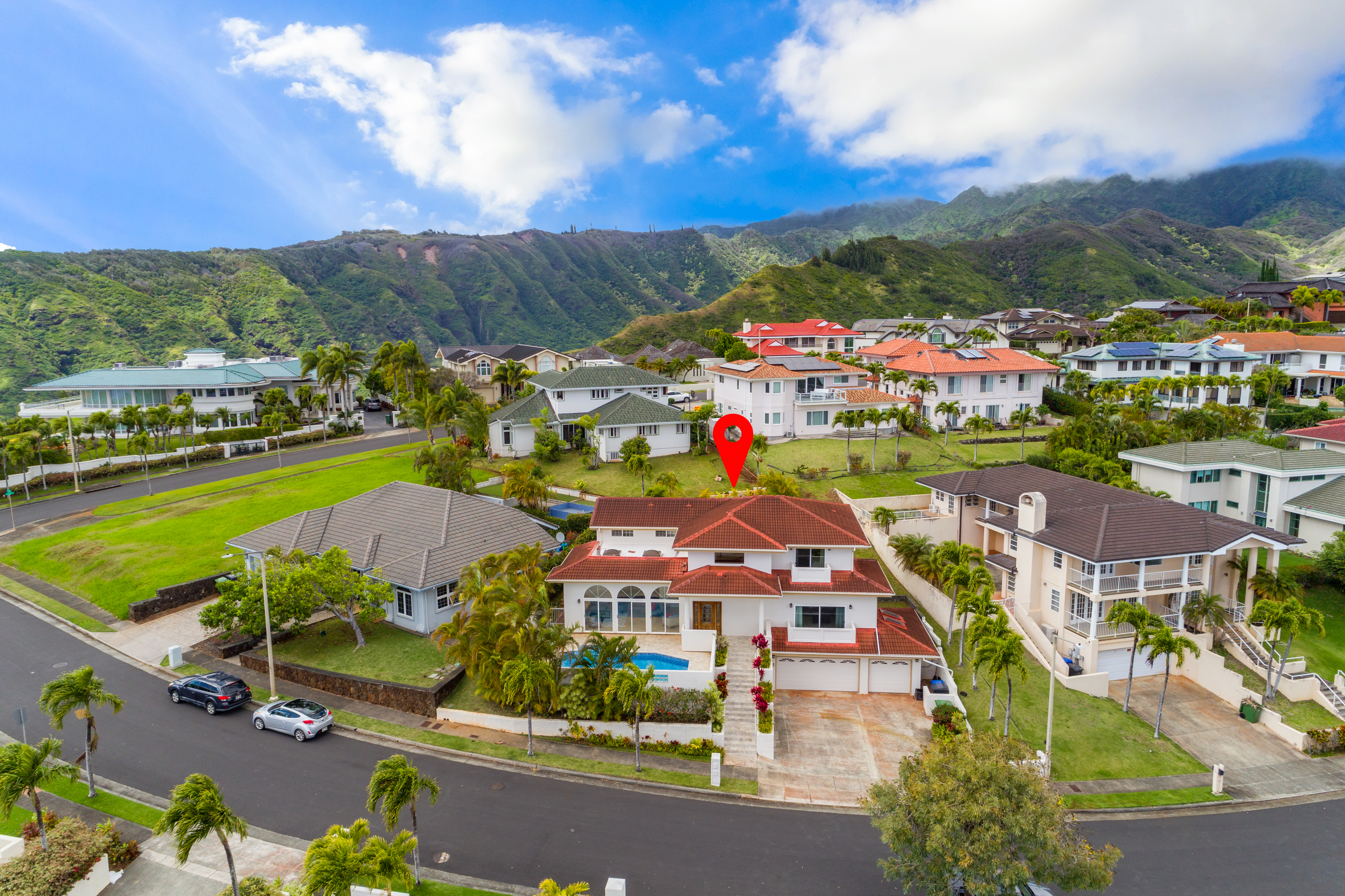 Aerial view front at 122 Kokololio Place