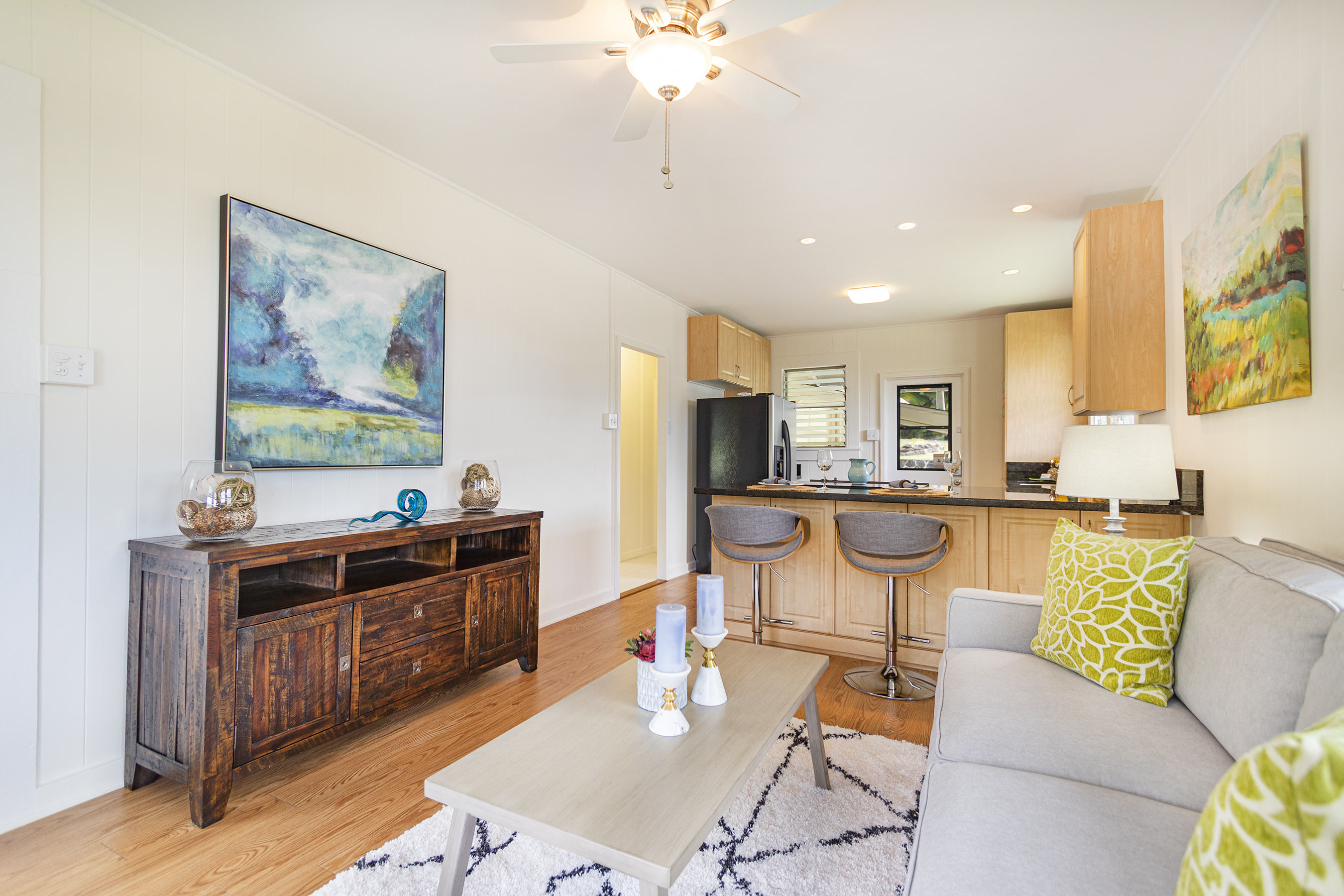 Living room and kitchen view at 1955 9th Avenue, Honolulu 96816