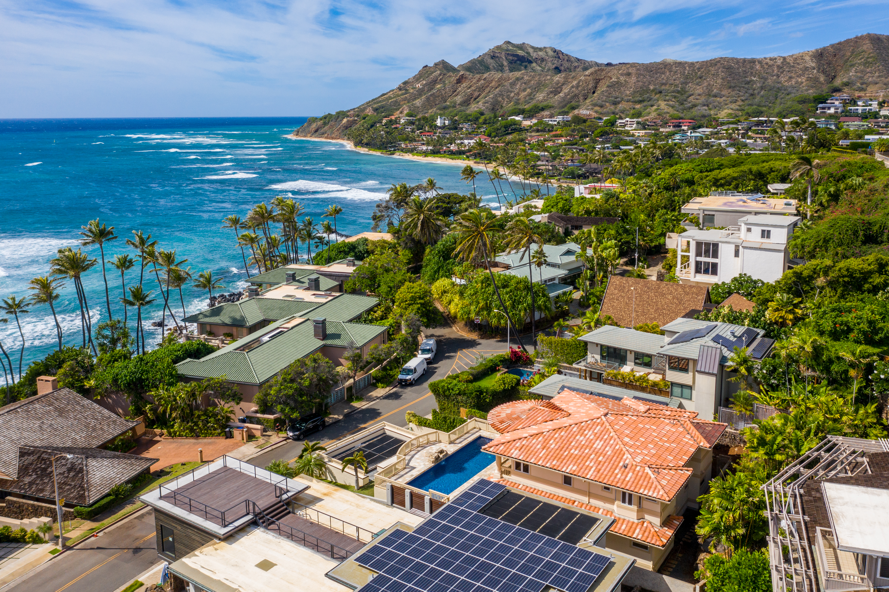 Aerial and ocean view from 4323 Kaikoo Place Honolulu, Hawaii 96816