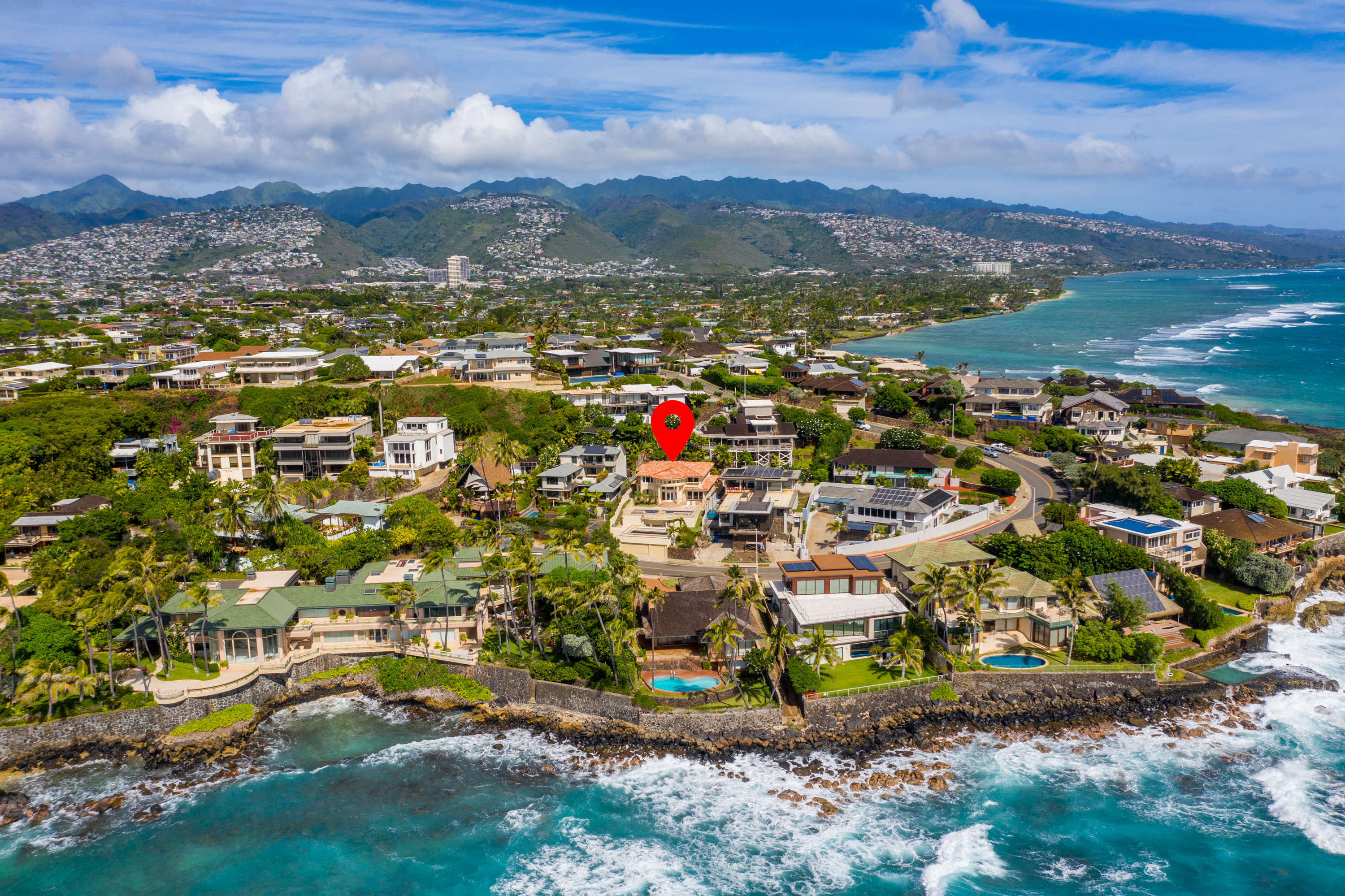 Aerial front view of Aerial and ocean view from 4323 Kaikoo Place Honolulu, Hawaii 96816
