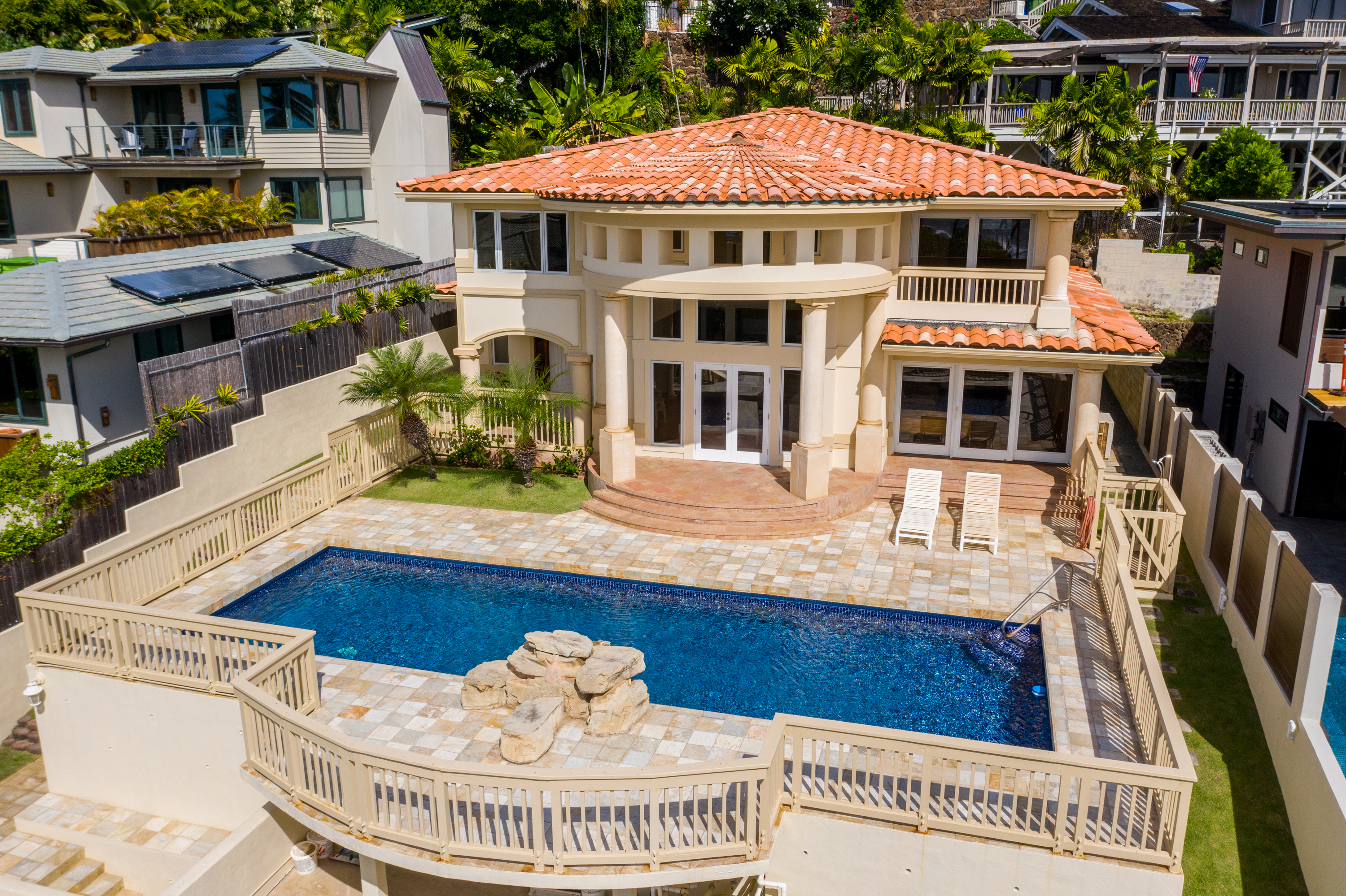 Front view at Aerial and ocean view from 4323 Kaikoo Place Honolulu, Hawaii 96816