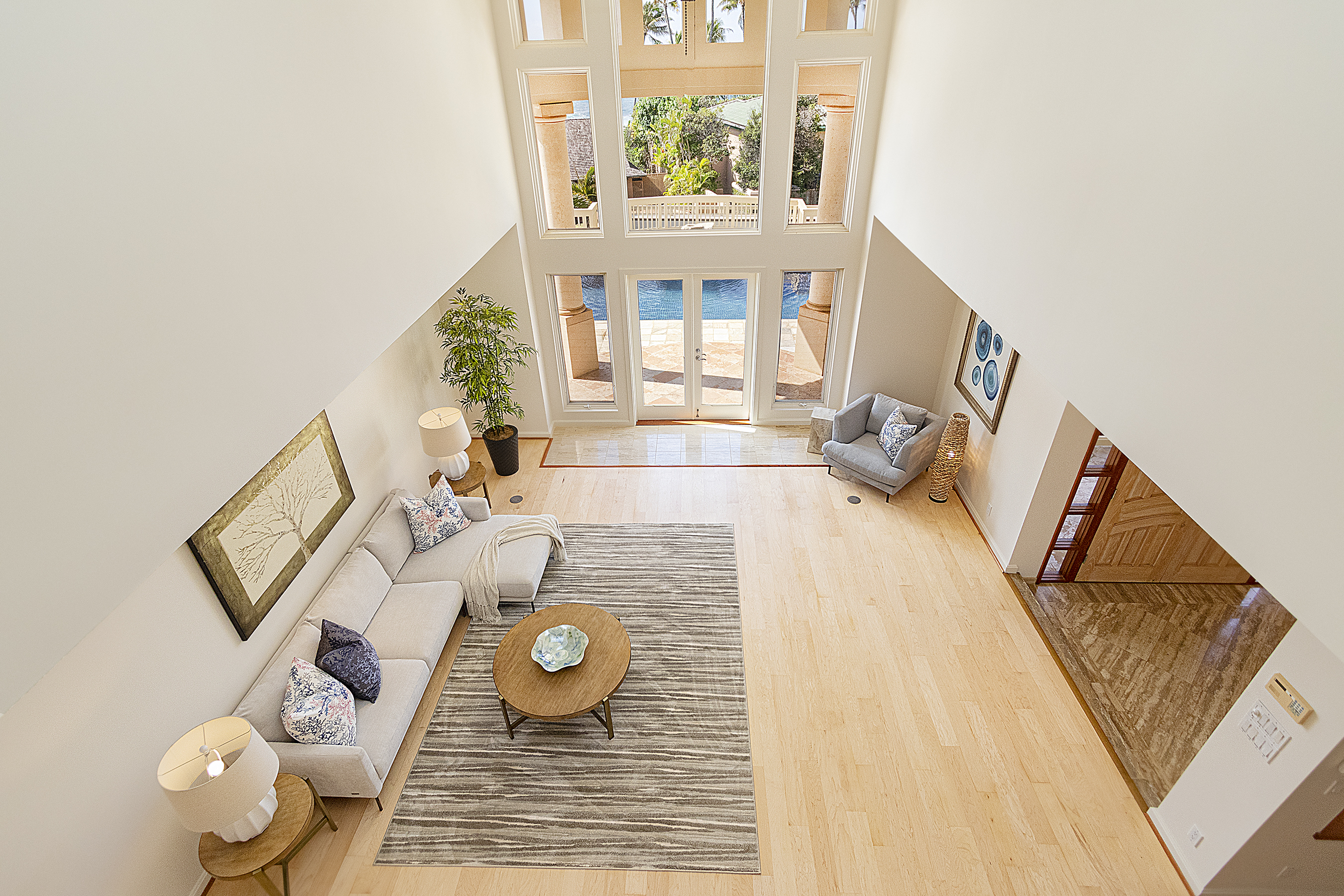 Living Room view from the second floor at 4323 Kaikoo Place, Honolulu, HI 96816