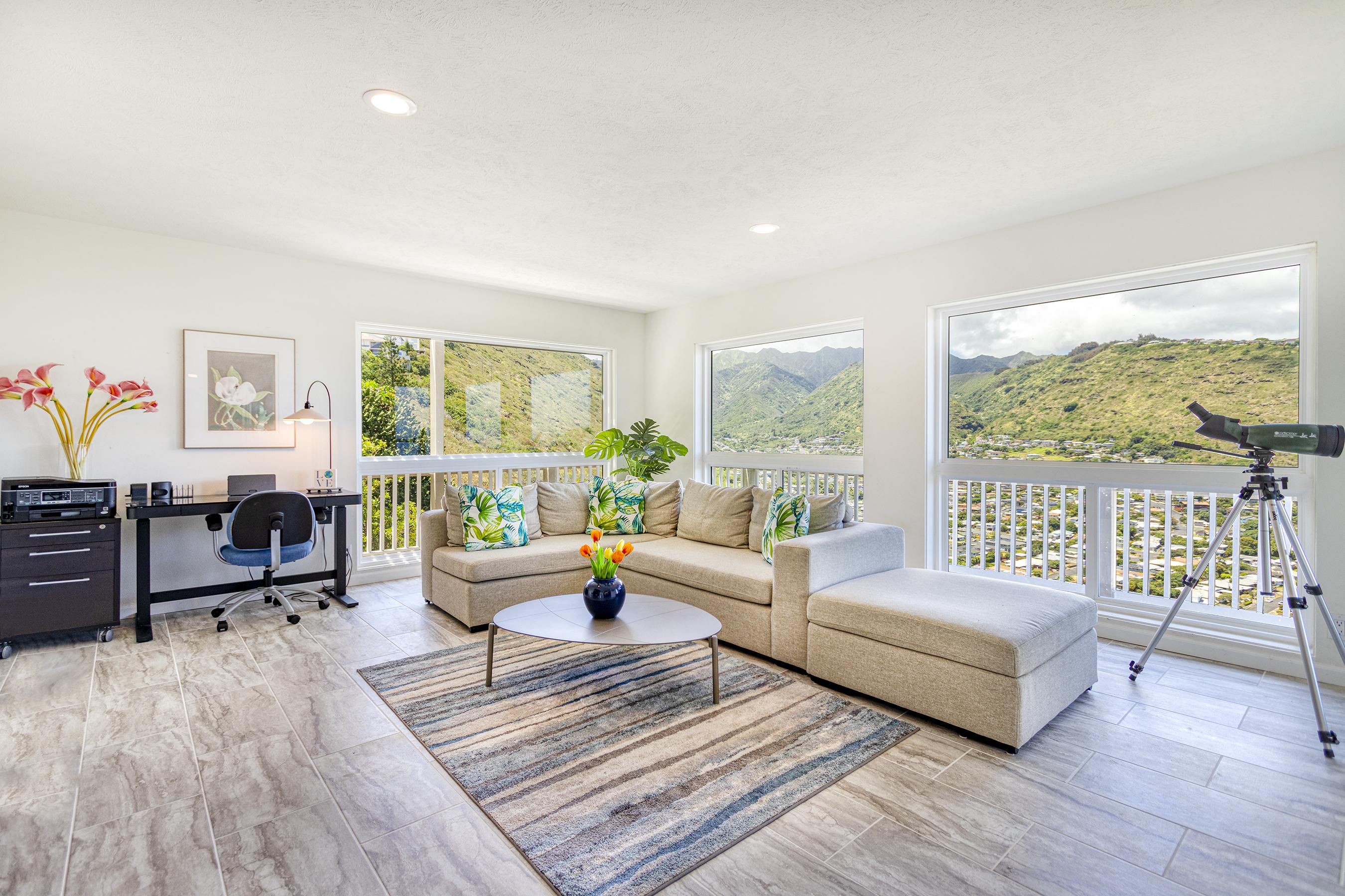 Lower living room at 5307 Poola St Honolulu 96821