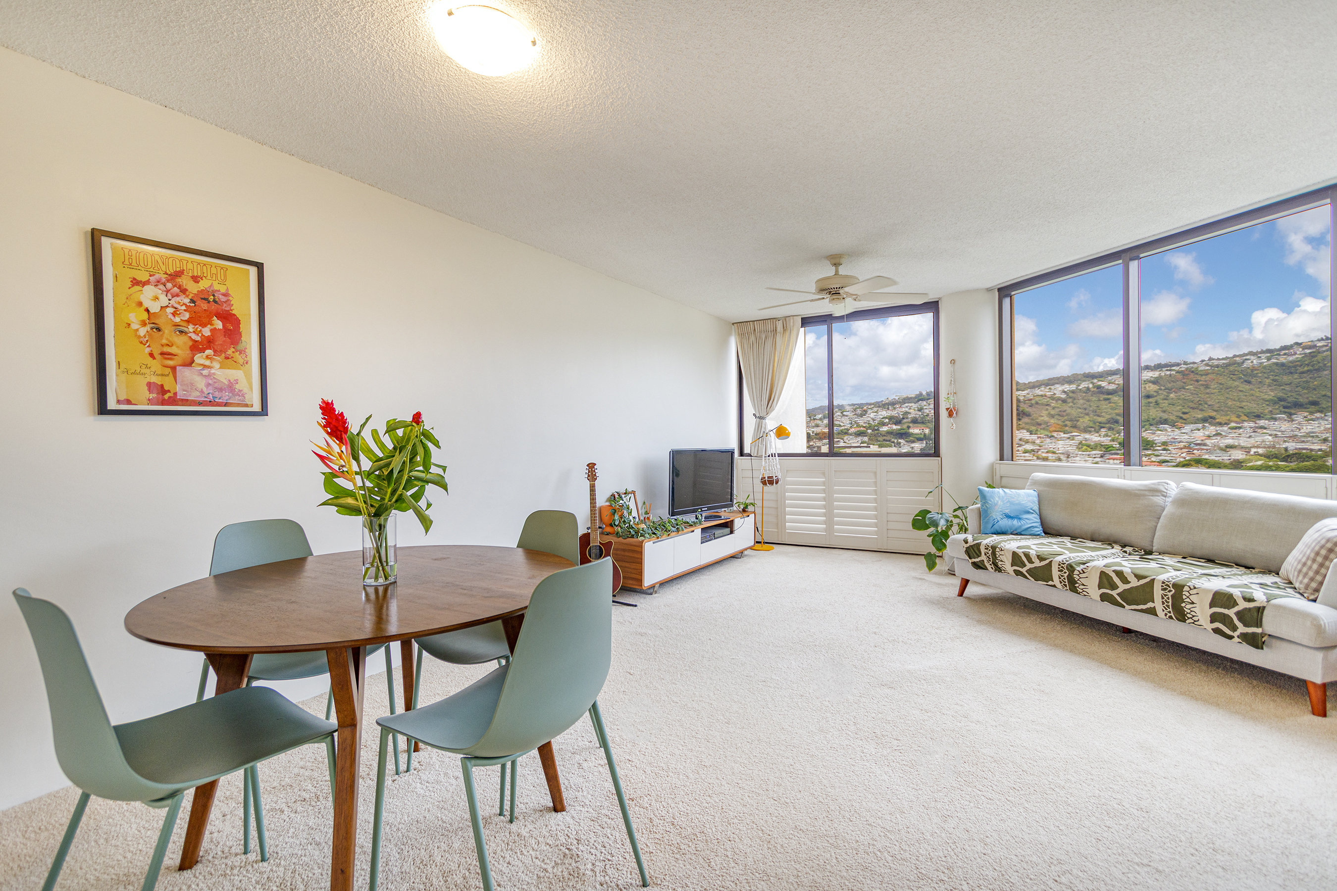 Dining and Living Room with View at 2101 Nuuanu Ave #I/1806 Honolulu, HI 96817