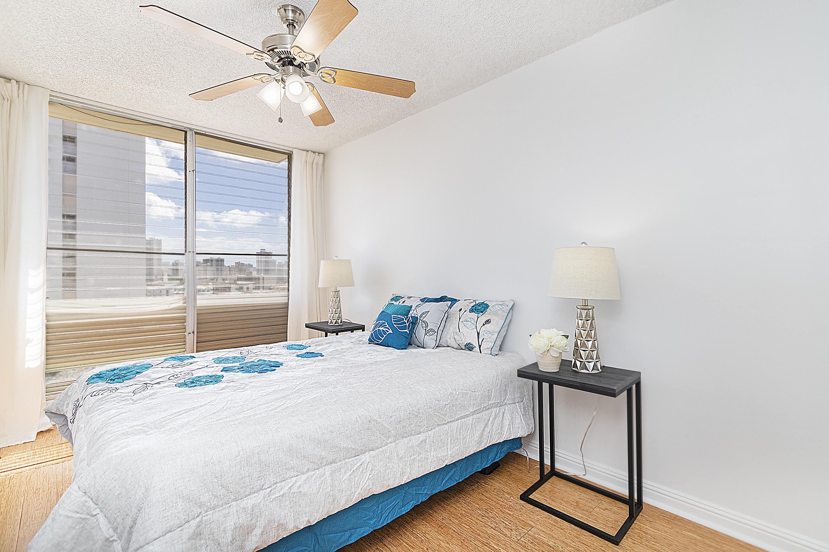 Master bedroom at 1535 Pensacola St #711, Honolulu, HI 96822