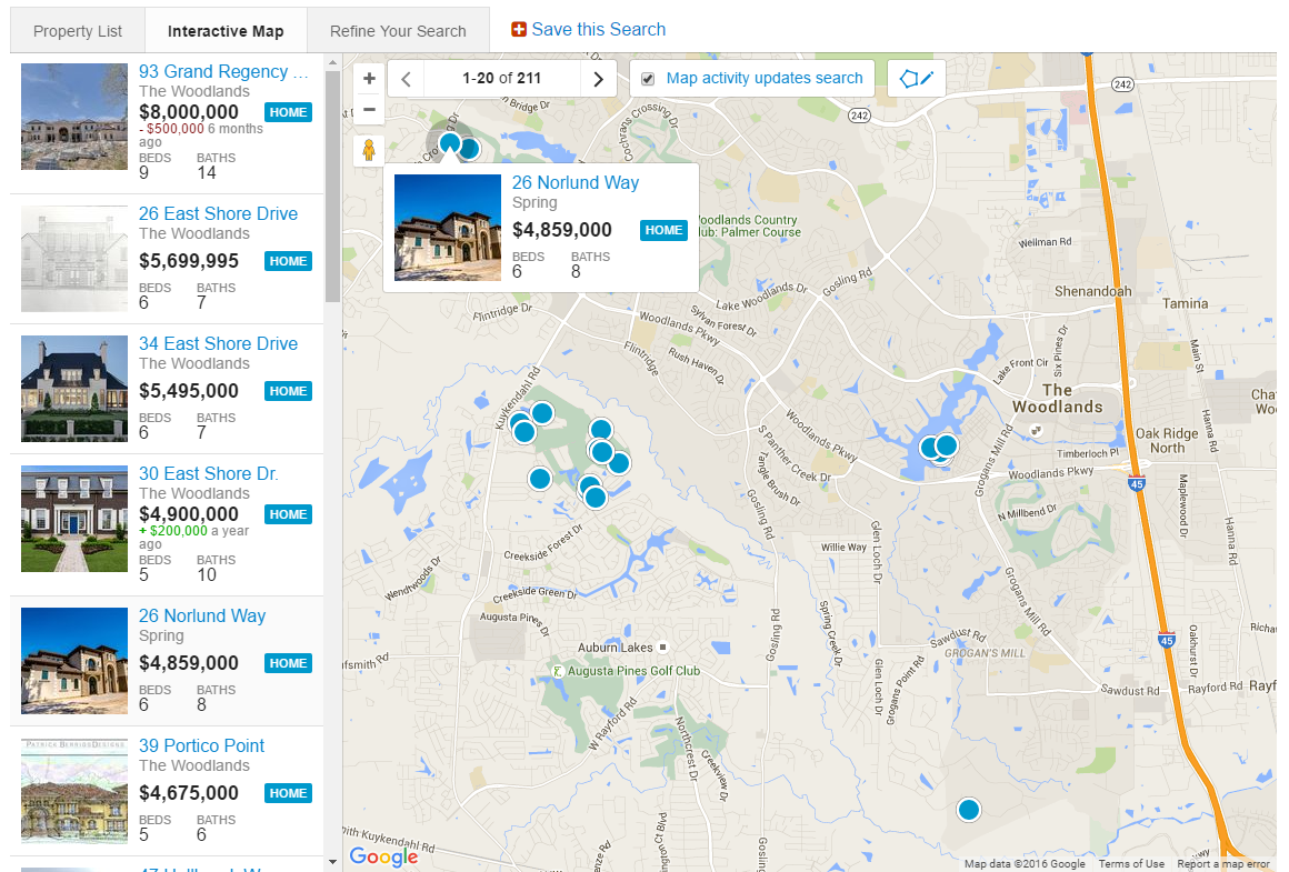Map Search The Woodlands Texas