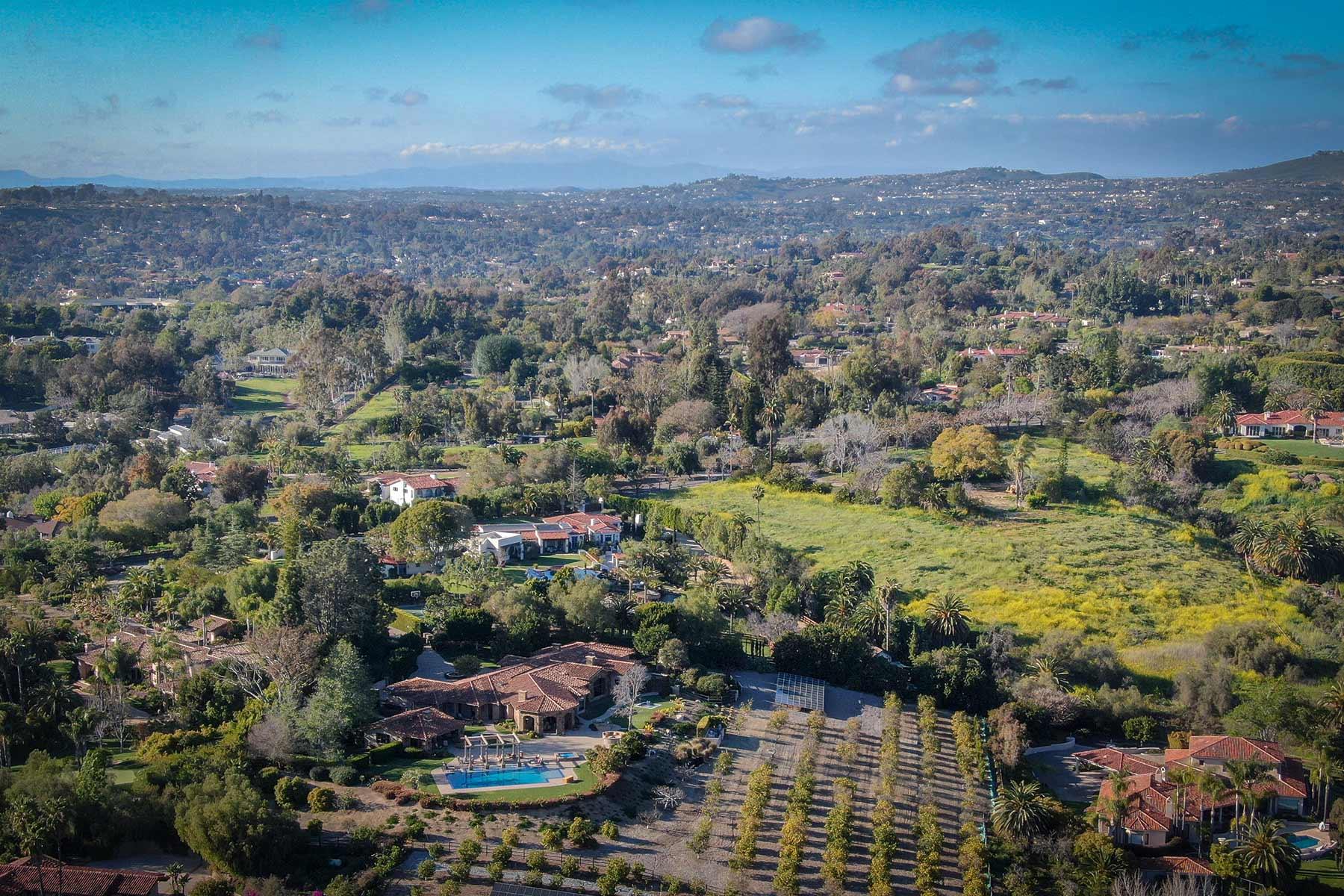aerial view of rancho santa fe luxury homes