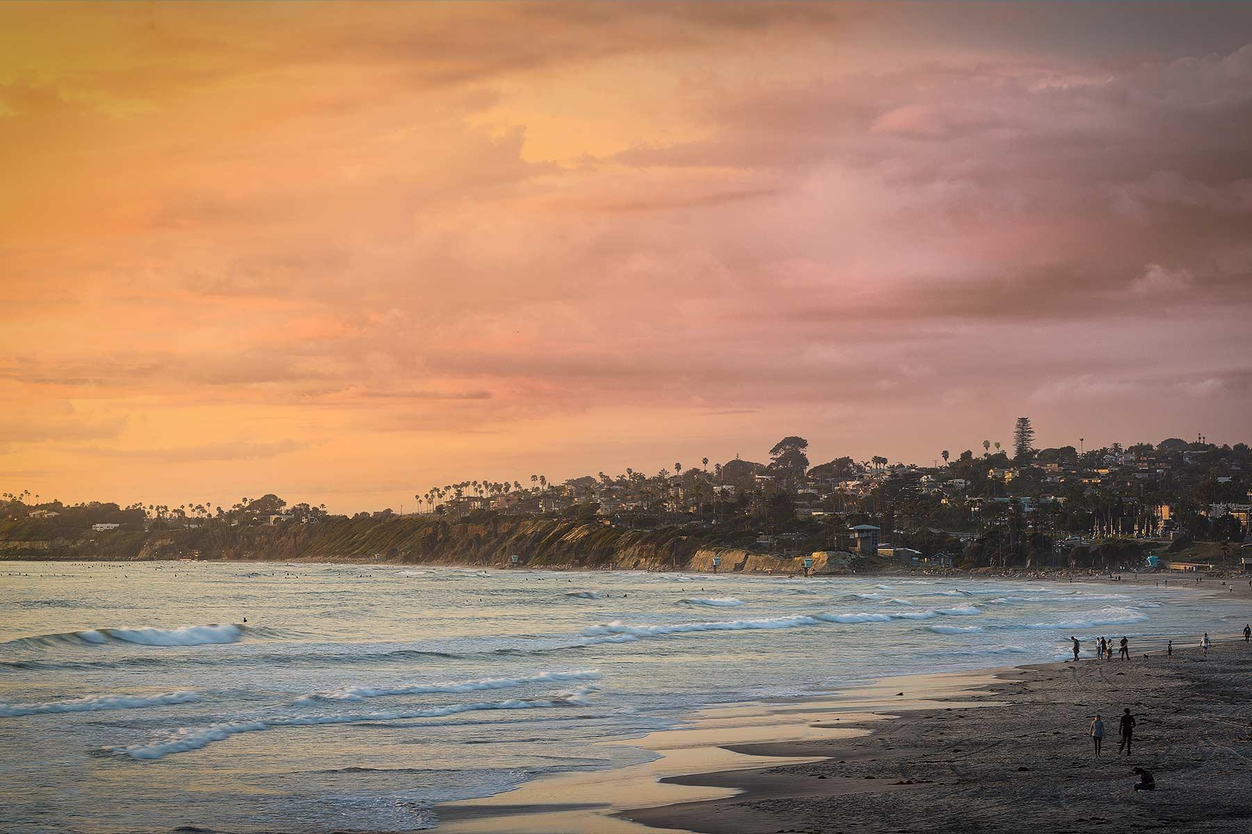 walking along solana beach during sunset