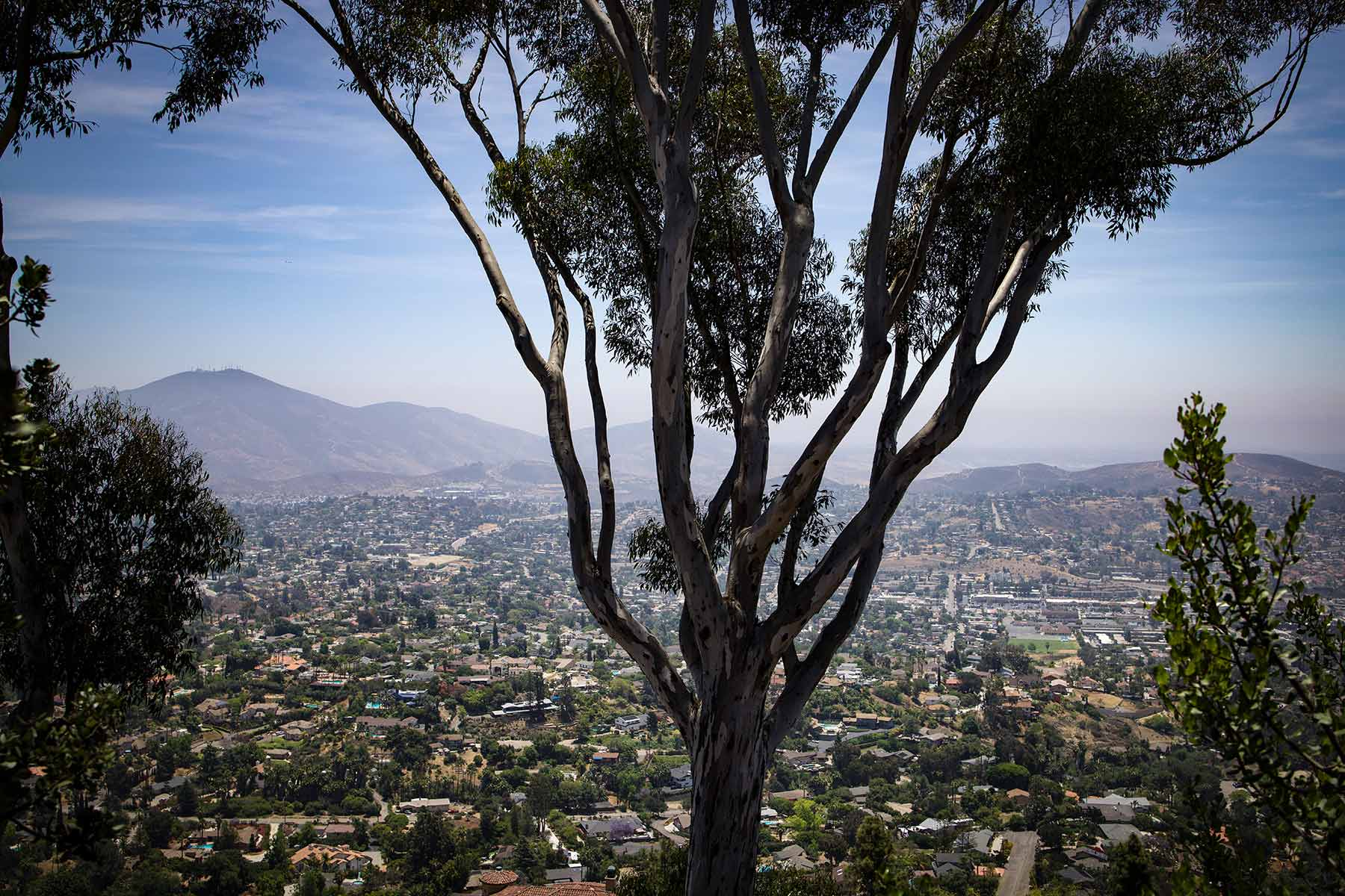 panoramic view of east san diego from top of mount helix