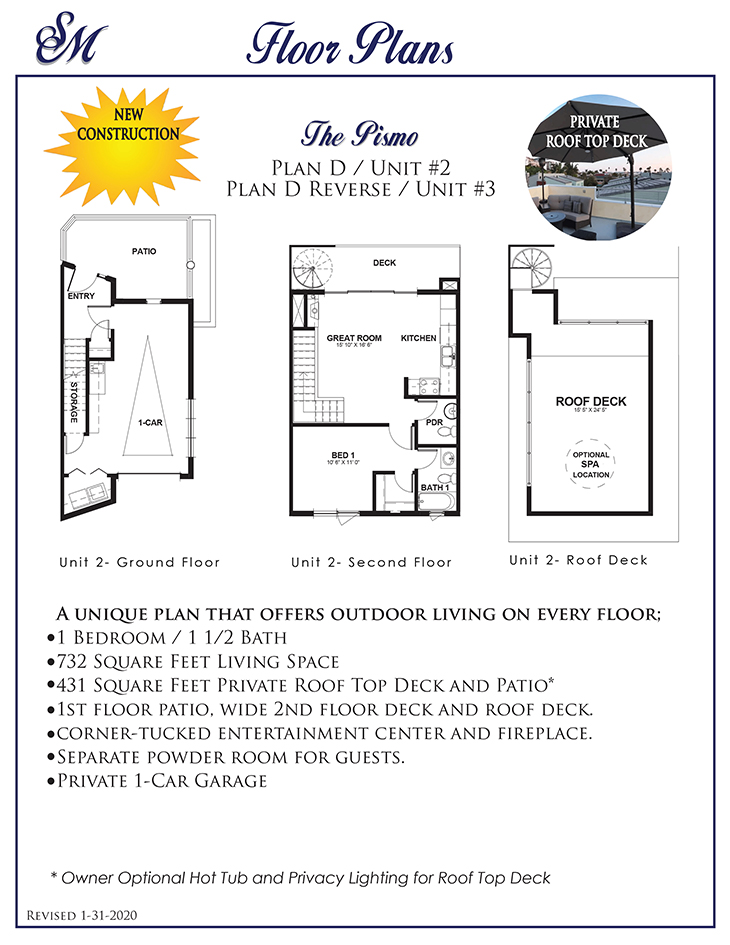 Two Great NEW 1 Bedroom, 1.5 Bath Luxury Avila Beach Condos