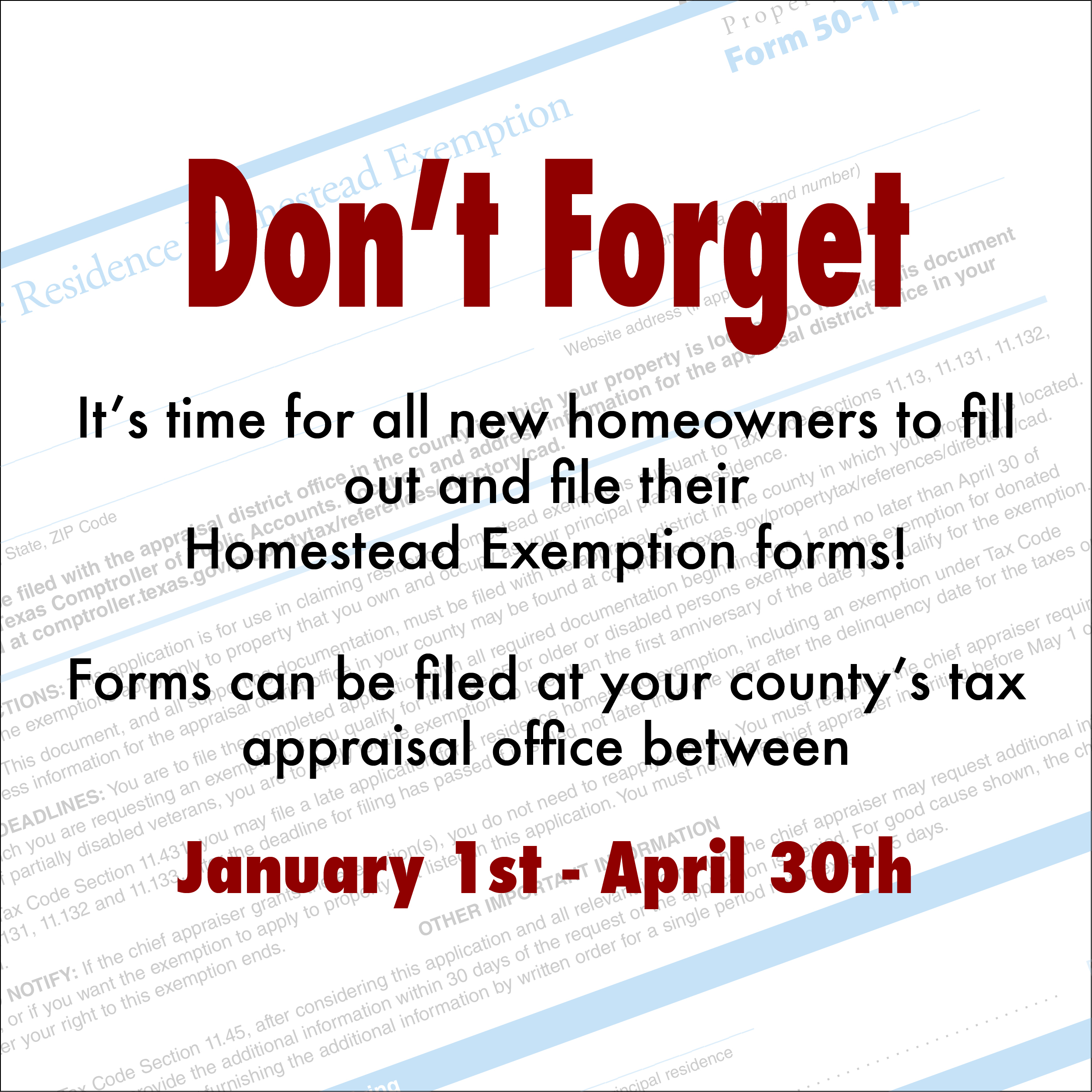 Time to file your Homestead Exemption
