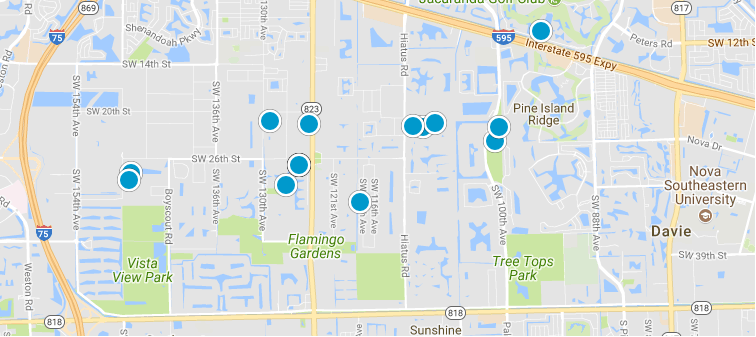 Davie Search map