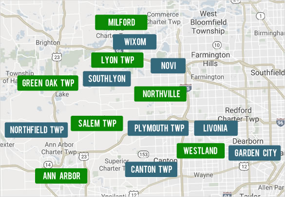 Search Wayne, Oakland, Washtenaw and Livingston by County