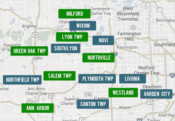 Search Wayne, Oakland, Washtenaw and Livingston by County