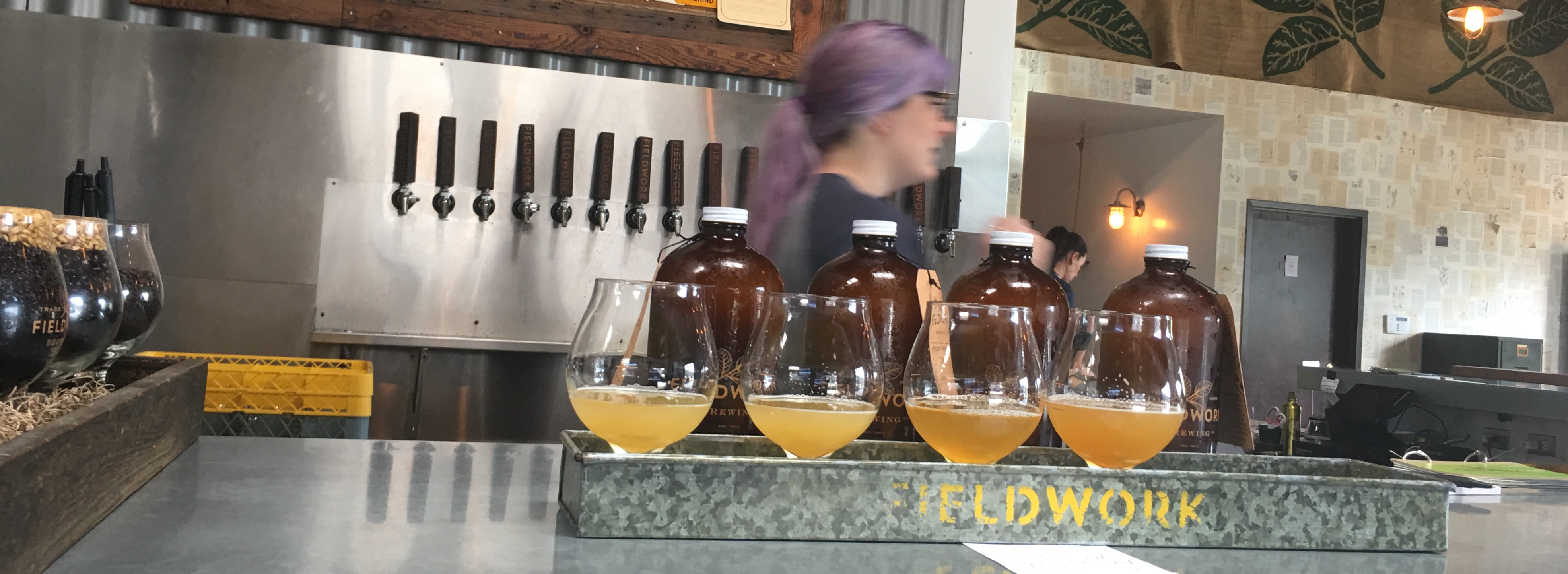 Beer tasting flight at Fieldwork Brewing Co