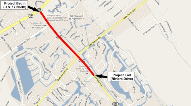 Isle of Palms Connector Road Widening Project Map