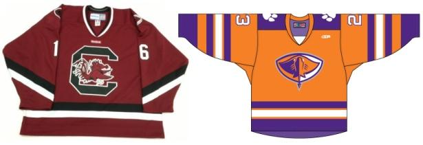 South Carolina Stingrays wear Gamecock and Tigers Hockey Jerseys
