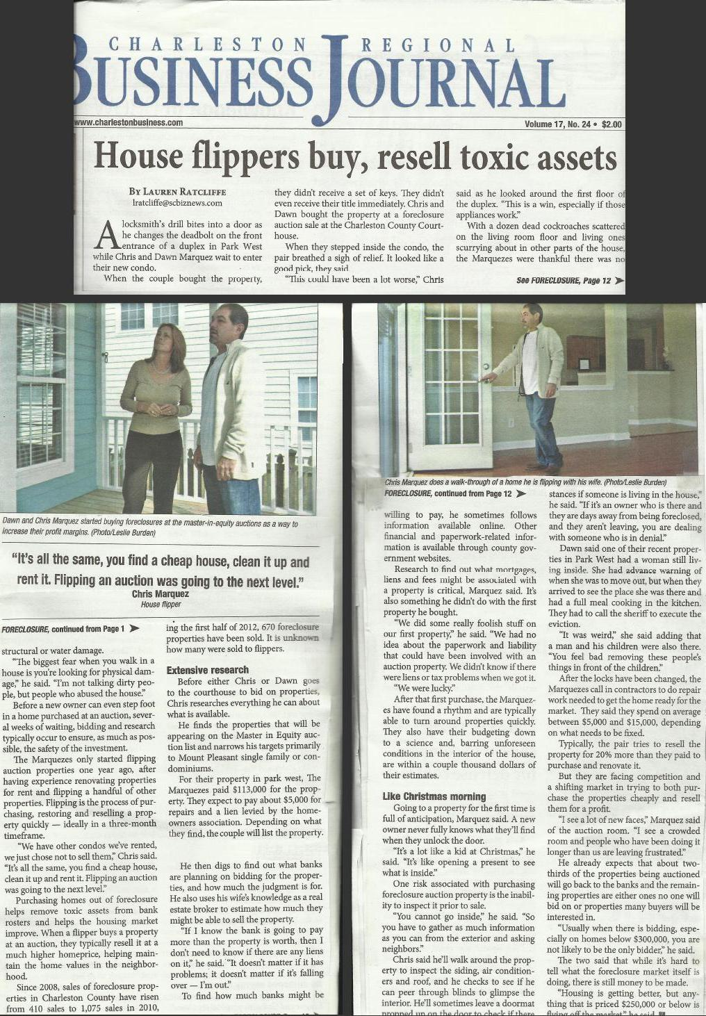 Charleston Business Journal Dawn & Chris Marquez House Flippers