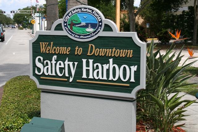 Safety Harbor Florida City Sign as you enter Town