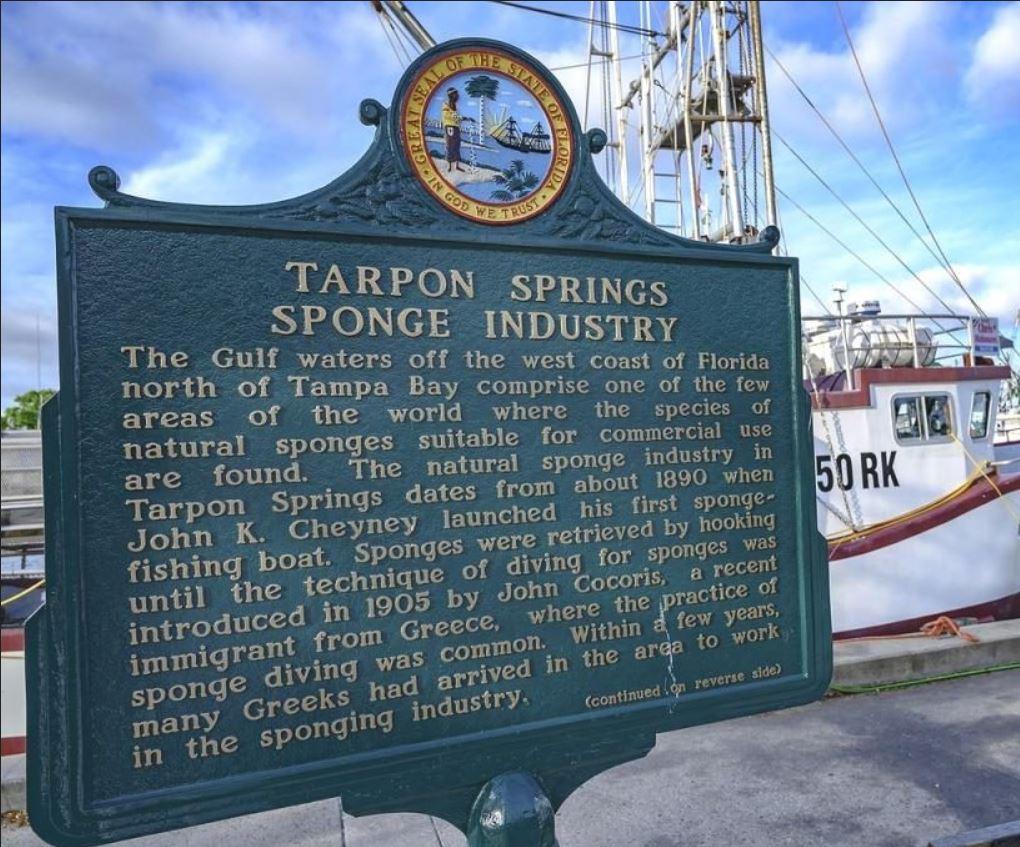 Tarpon Springs Florida Sponge Industry historical Sign