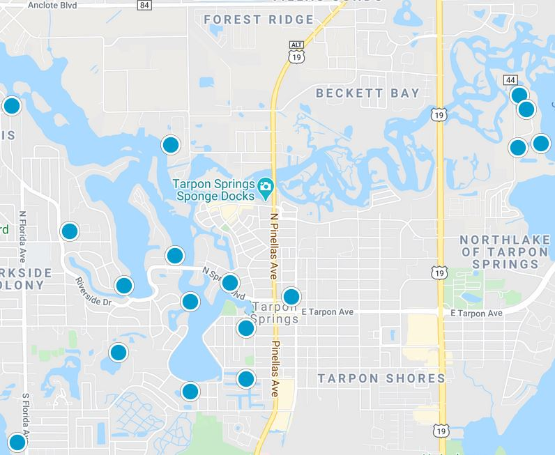 image of the map area for Tarpon Springs Florida
