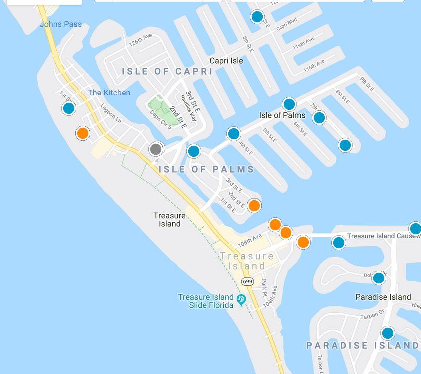 Treasure Island Florida Map Tool Image
