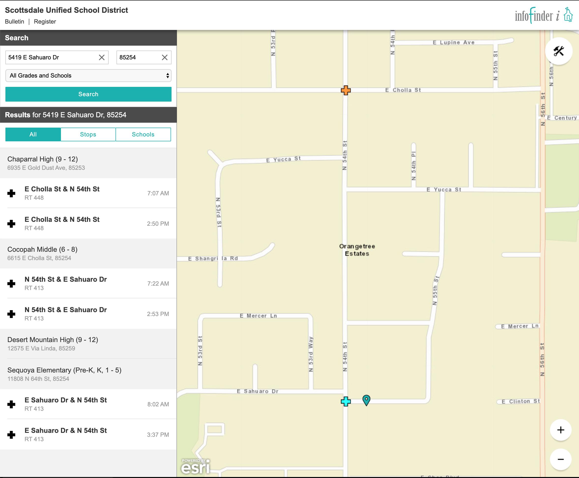 """""""Home School"""" Bus Stop Locations (SUSD)"""