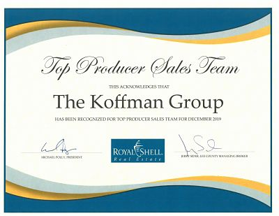 Koffman Group December 2019 Award for Top Producing Sales Team in the Cape Coral real estate office