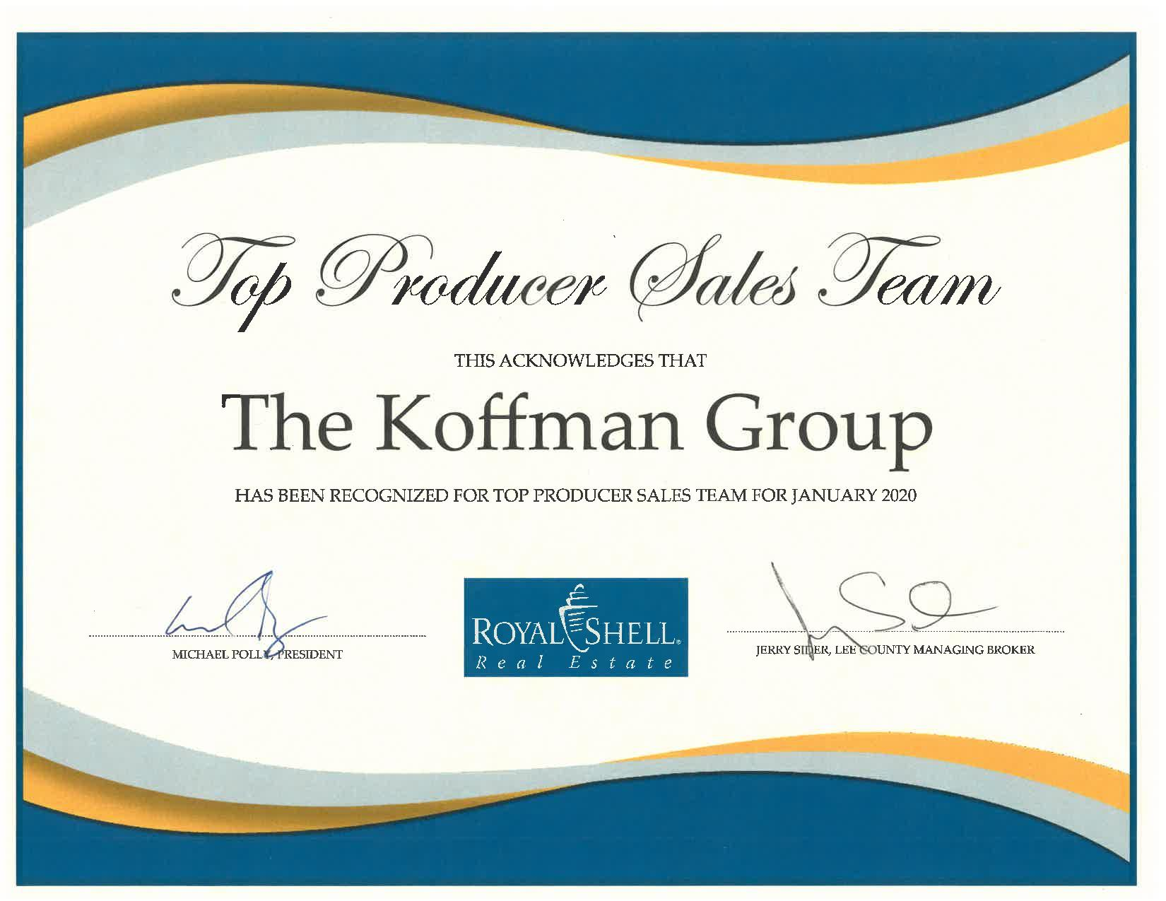Koffman Group January 2020 Award for Top Producing Sales Team in the Cape Coral real estate office
