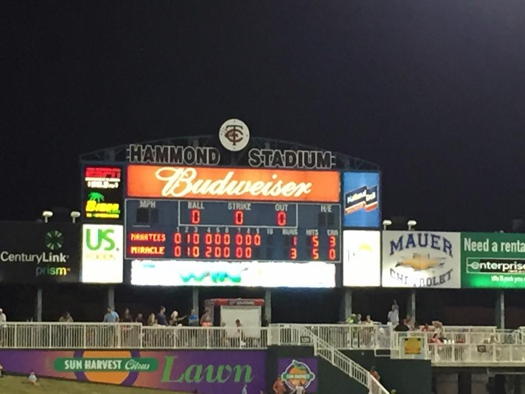 Hammond Stadium scoreboard